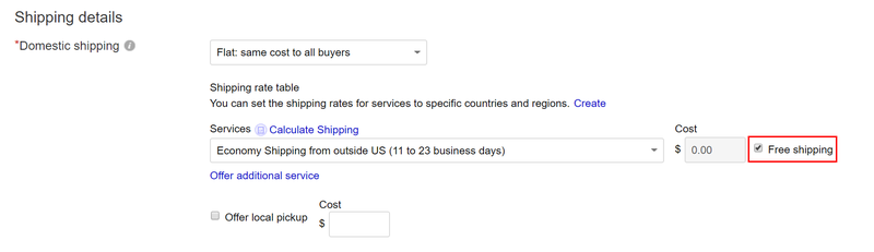 Free shipping screenshot